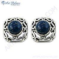 Elegant Fancy 925 Sterling Silver Earrings In Lapis Lazuli
