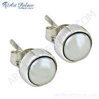 Pearl Silver Earring In Round Shape