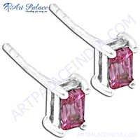 Hot Elegant Pink Cubic Zirconia Gemstone Silver Earrings