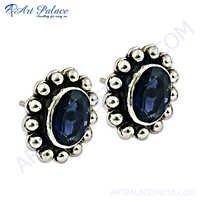 Hot Sale Fashionable Blue Glass Gemstone Silver Earrings