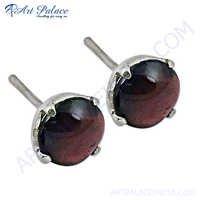 Sterling Silver Garnet Gemstone Silver Earrings With Stud Earring