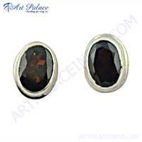 Natural Garnet 925 Silver Earring With Stud