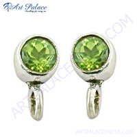 Popular Design Peridot Gemstone Silver Earrings