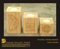 Diya Stand Natural Engraved
