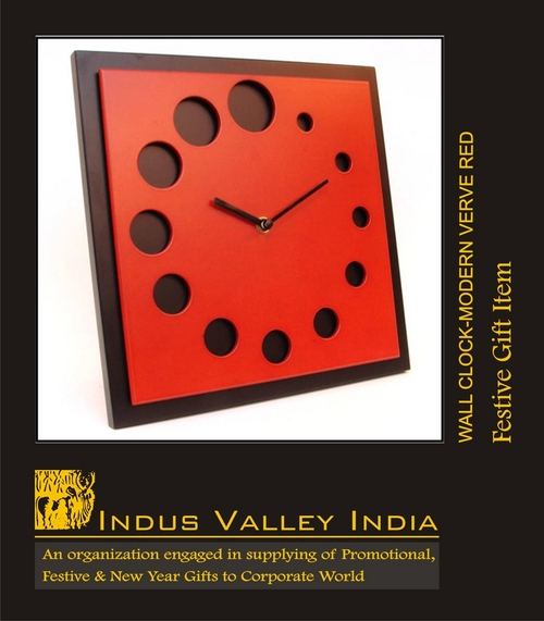 Wall Clock Modern Verve Red