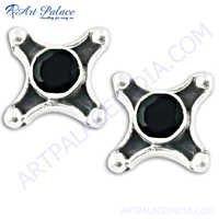 Round Shape Latest Silver Earrings In Black Onyx