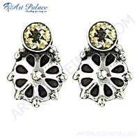 Antique Wedding Citrine Gemstone Silver Earring
