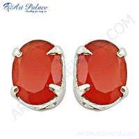 Carnelian Gemstone Earrings Jewelry, Silver Earrings