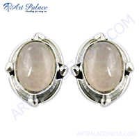 Latest Rose Quartz Gemstone Silver Earrings With Stud Earrings