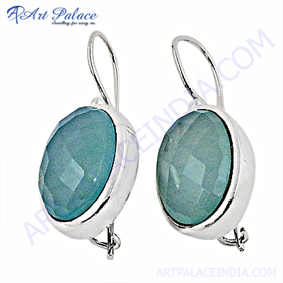 925 Sterling Silver Blue Chalcedony Earrings,Wholesale Jewelry
