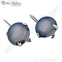 Designer Blue Chalcedony Gemstone Earring,925 Silver Earring