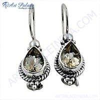 Precious Antique Citrine Gemstone Silver Earrings