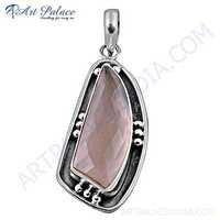 Celeb Style Rose Quartz Gemstone SIlver Pendant