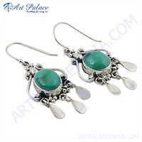 Different Design Turquoise Earrings In Silver Droop