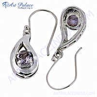 Fashionable Natural Amethyst Gemstone Silver Earrings