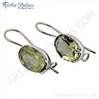 Lemon Quartz Gemstone Silver Earrings, Sterling Silver Jewellery