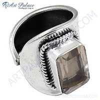 Gracious Fashion Rose Quartz Jemstone Silver Ring