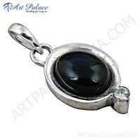 Rady To Wear Black Onyx & Cubic Zirconia Gemstone Silver Pendant