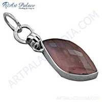 New Arrival Rose Quartz Gemstone Silver Pendant