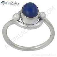 Lastest Luxury Blue Druzy Gemstone Silver Ring