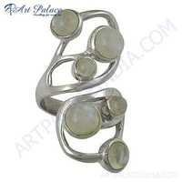 Fantastic fashionable Moonstone Rainbow Gemstone Silver Ring