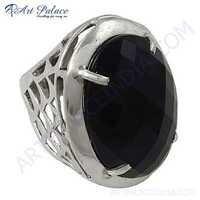 Ingenious Big Black Onyx Gemstone Silver Ring