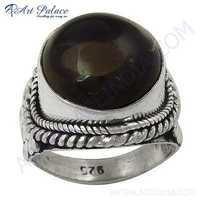 Lastest Luxury Smokey Quartz Gemstone Silver Ring