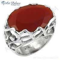 Lastest Luxury Red Onyx Oval Gemstone Silver Ring