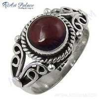 Antique Style Garnet Round Silver Gemstone Ring