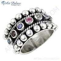 Exclusive Multistone Silver Gemstone Ring