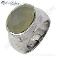 Fashion Chalce Oval Silver Gemstone Ring