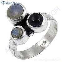 Sterling  Silver Gemstone Ring With Black Onyx Rainbow Moonstone