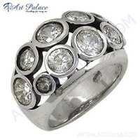 Elegant Fancy Sterling Cubic Zirconia Silver Gemstone Ring