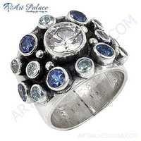 Newest Style Fashion Amethyst Cubic Zirconia Silver Gemstone Ring