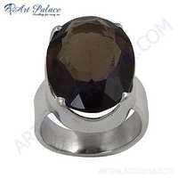 Ingenious Big Smokey Quartz Gemstone Silver Ring