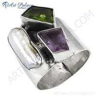 New Natural Amethyst Peidot Gemstone Silver Ring