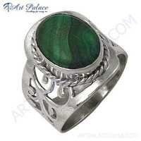 Elegant Fancy Malachite Silver Gemstone Ring