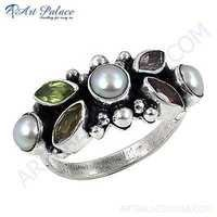 Fashionable Multistone Sterling Silver Gemstone Ring