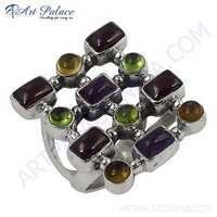 Fashionable Multistone Sterling Gemstone Silver Ring