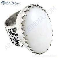 Fantastic fashionable White Oynx Gemstone Silver Ring