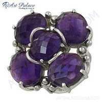 New Sterling Amethyst Gemstone Silver Ring