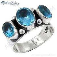 Newest Style Fashion Blue Topaz Silver Gemstone Ring