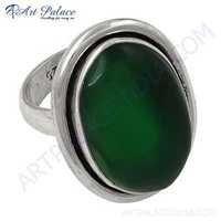 Ingenious Big Green Onyx Gemstone Silver Ring