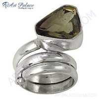 Latest Fashionable Smokey Quartz Silver Gemstone Ring