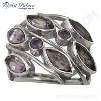 Famous Design Gemstone Silver Ring With Amethyst
