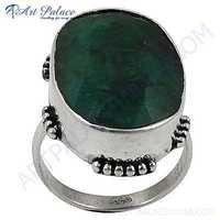 Sterling Green Corundum Silver Gemstone Ring