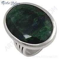 Elegant Fancy Sterling Green Corundum Silver Gemstone Ring