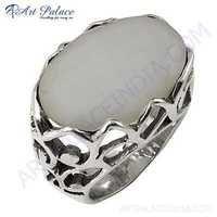 Latest Luxury Fashionable White Quartz Silver Gemstone Ring