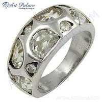 Elegant Fancy Zirconia Sterling Silver Gemstone Ring