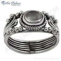 Luxury Fashionable Blue Chalcedony Silver Gemstone Ring